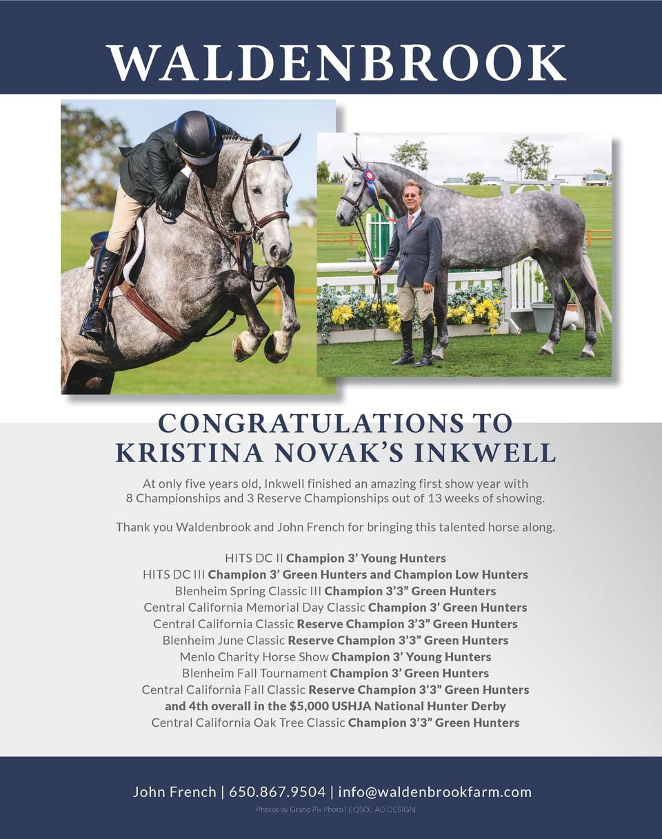 WALDENBROOK  CONGRATULATIONS TO KRISTINA NOVAK   S INKWELL At only five years old, Inkwell finished an amazing first show ...