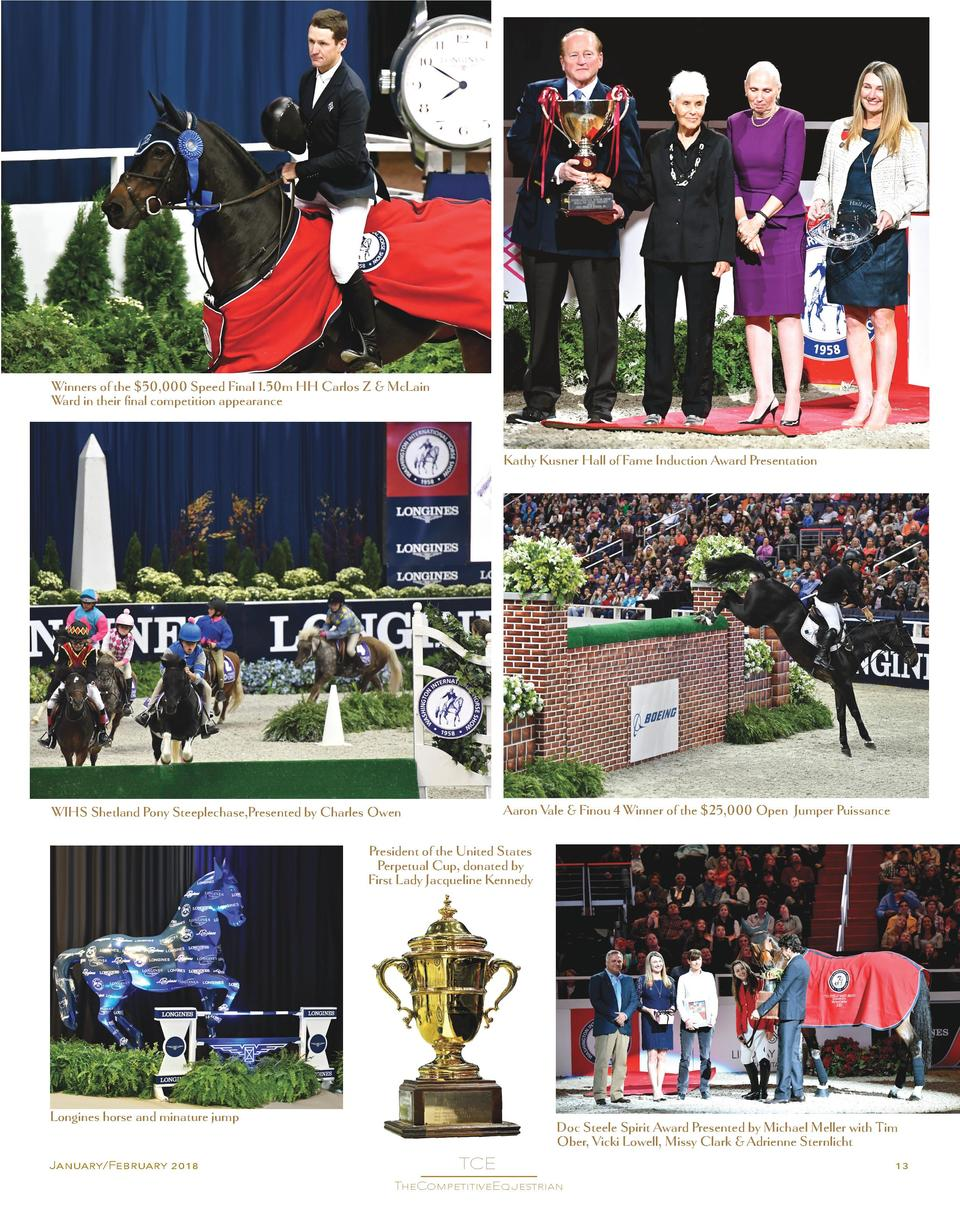 Winners of the  50,000 Speed Final 1.50m HH Carlos Z   McLain Ward in their final competition appearance  Kathy Kusner Hal...