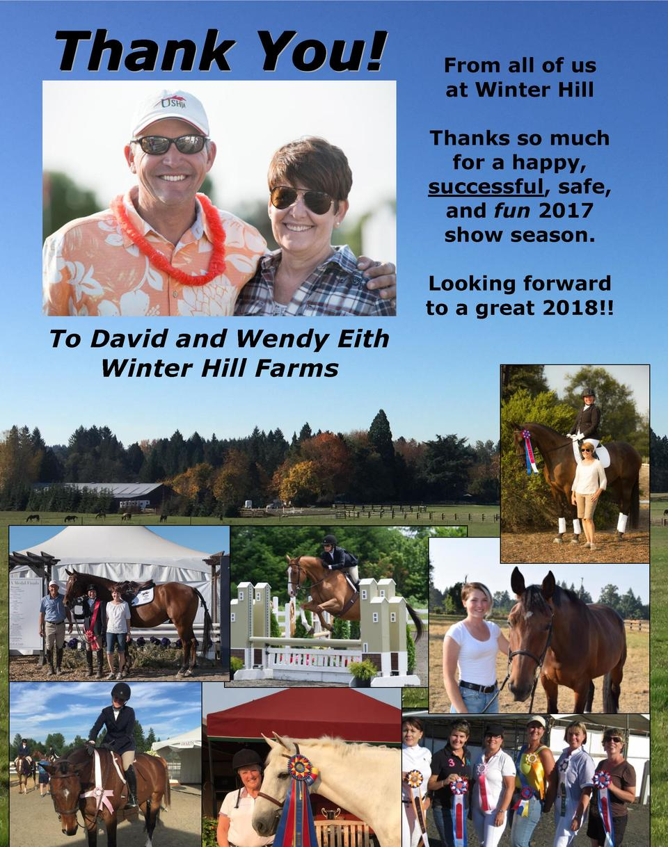 Thank You   From all of us at Winter Hill Thanks so much for a happy, successful, safe, and fun 2017 show season. Looking ...