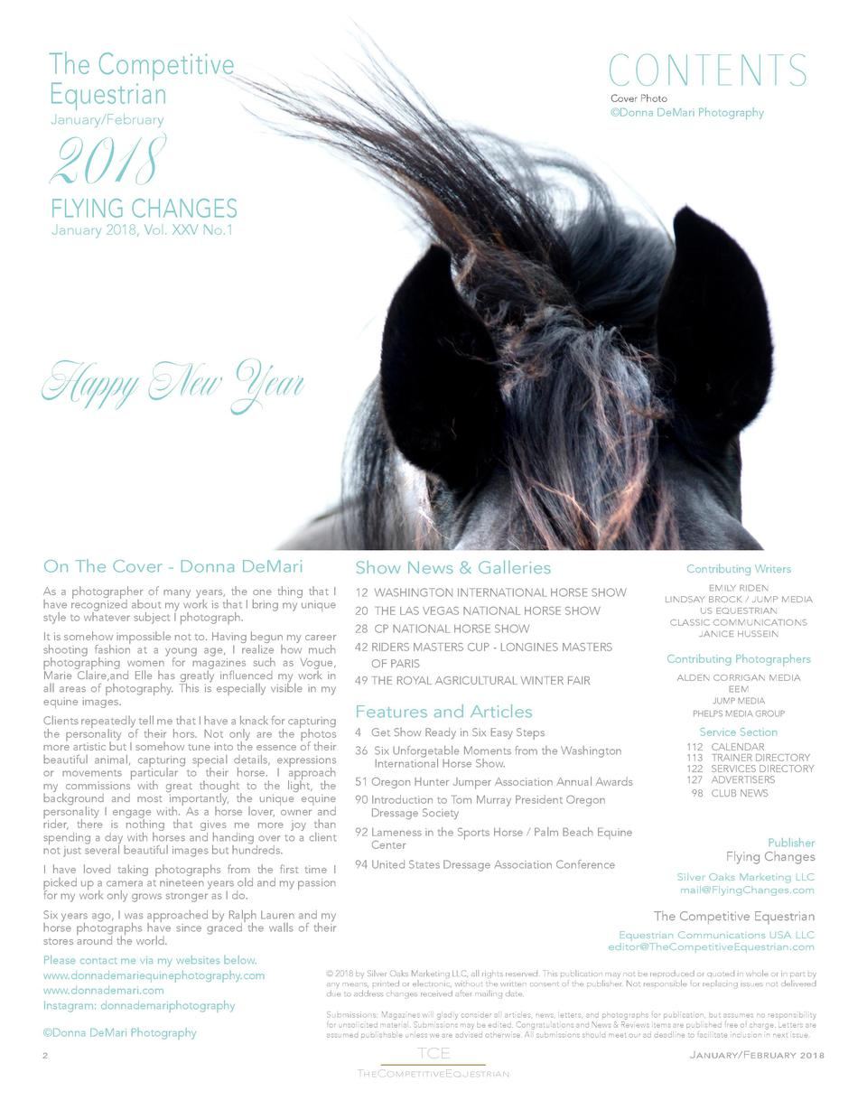 CONTENTS  The Competitive Equestrian  Cover Photo    Donna DeMari Photography  January February  2018  FLYING CHANGES Janu...