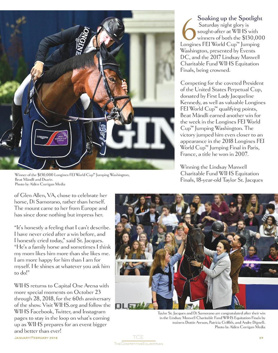 6  Soaking up the Spotlight  Saturday night glory is sought-after at WIHS with winners of both the  130,000 Longines FEI W...