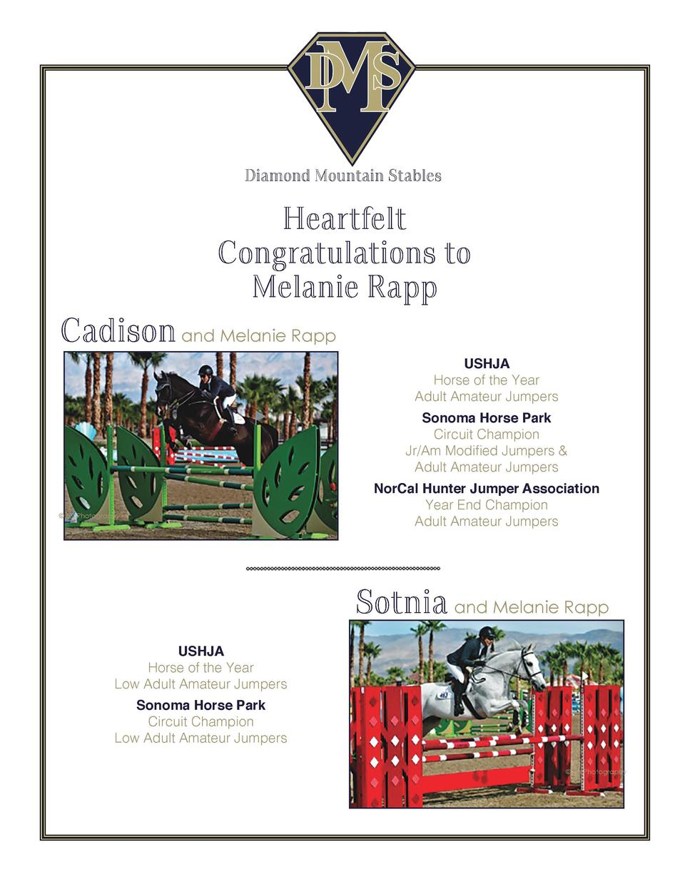 Diamond Mountain Stables  Heartfelt Congratulations to Melanie Rapp  Cadison and Melanie Rapp USHJA Horse of the Year Adul...