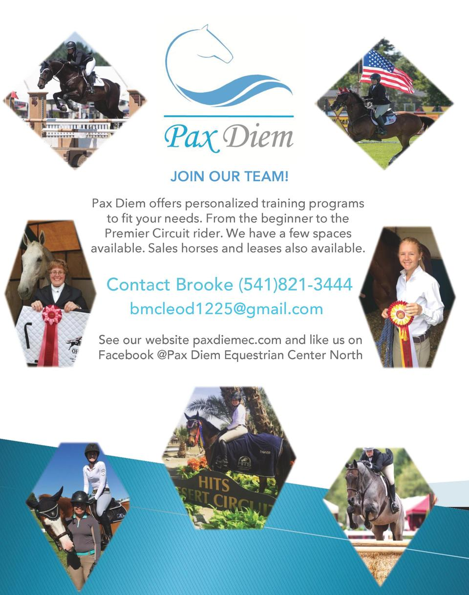 JOIN OUR TEAM  Pax Diem offers personalized training programs to fit your needs. From the beginner to the Premier Circuit ...