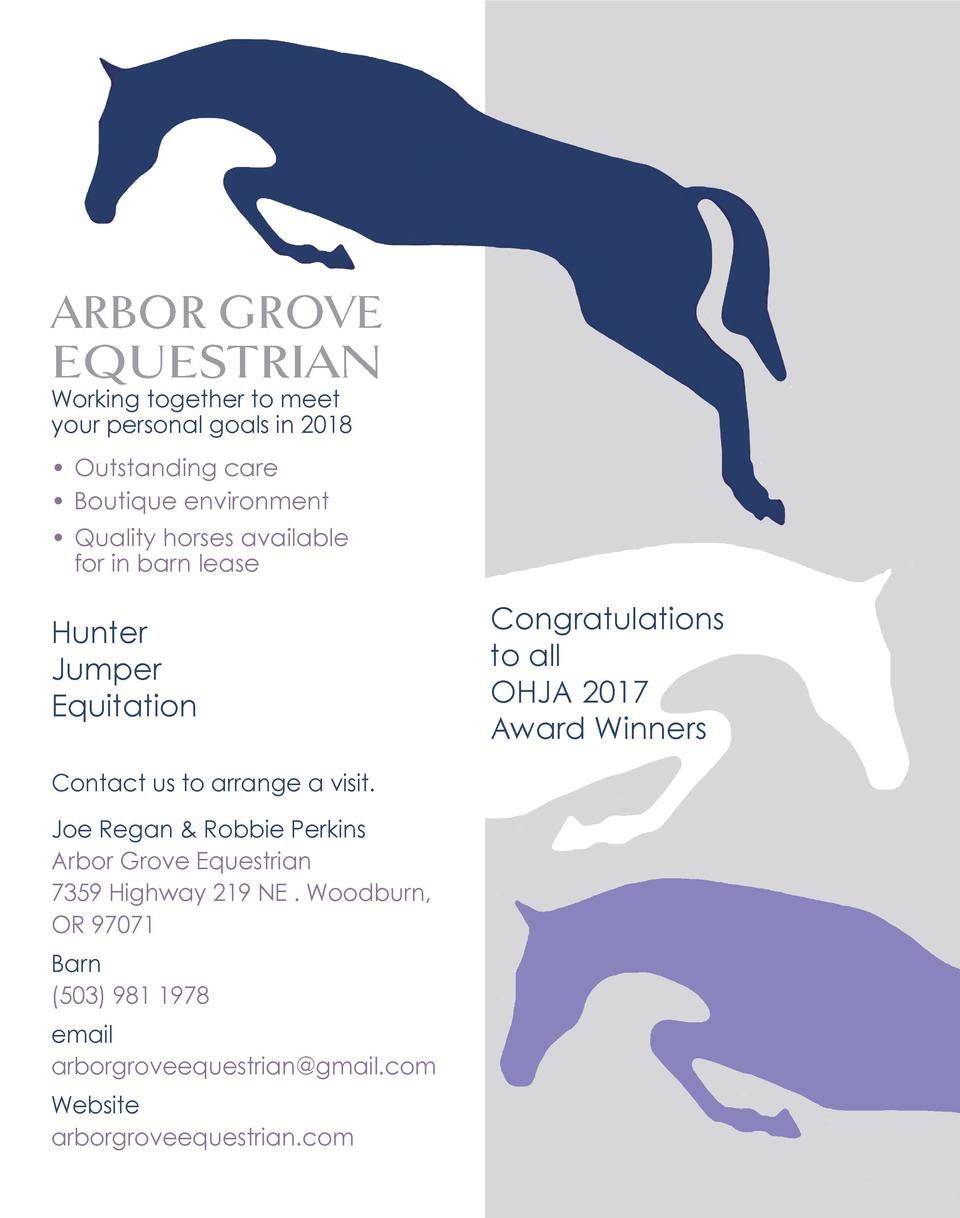 ARBOR GROVE EQUESTRIAN Working together to meet your personal goals in 2018     Outstanding care     Boutique environment ...