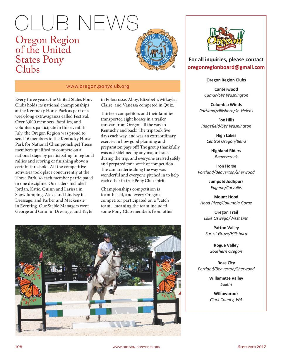 Oregon Region of the United States Pony Clubs  For all inquiries, please contact oregonregionboard gmail.com Oregon Region...
