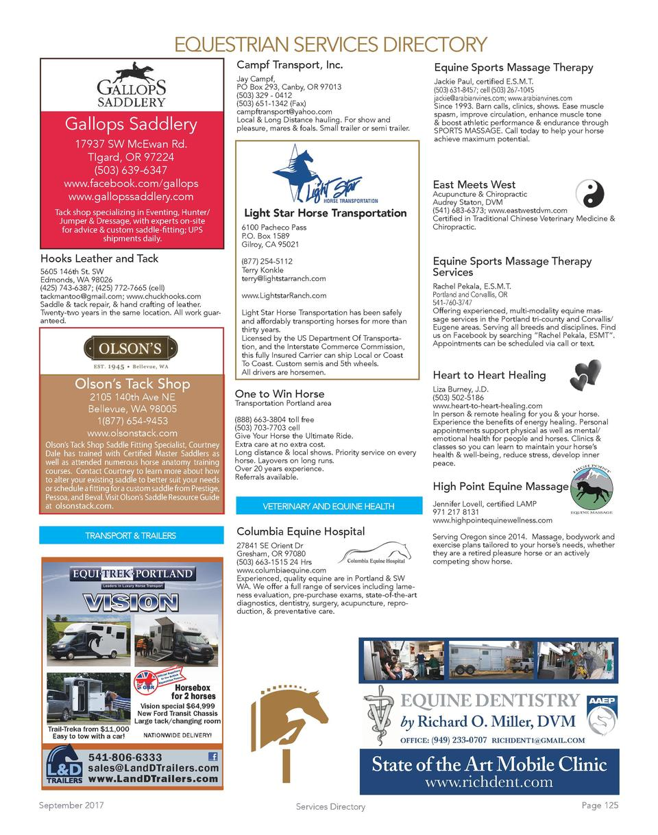EQUESTRIAN SERVICES DIRECTORY Campf Transport, Inc.  Gallops Saddlery  Equine Sports Massage Therapy  Jay Campf, PO Box 29...