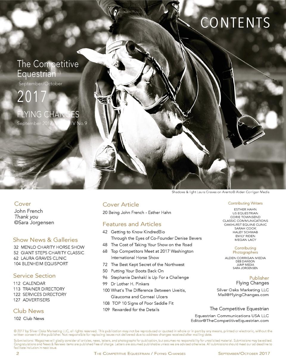 CONTENTS The Competitive Equestrian September October  2017  FLYING CHANGES September 2017, Vol. XXIIV No.9  Shadows   lig...