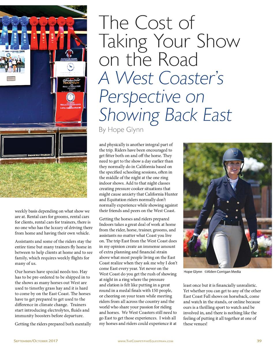 The Cost of Taking Your Show on the Road A West Coaster   s Perspective on Showing Back East By Hope Glynn  weekly basis d...