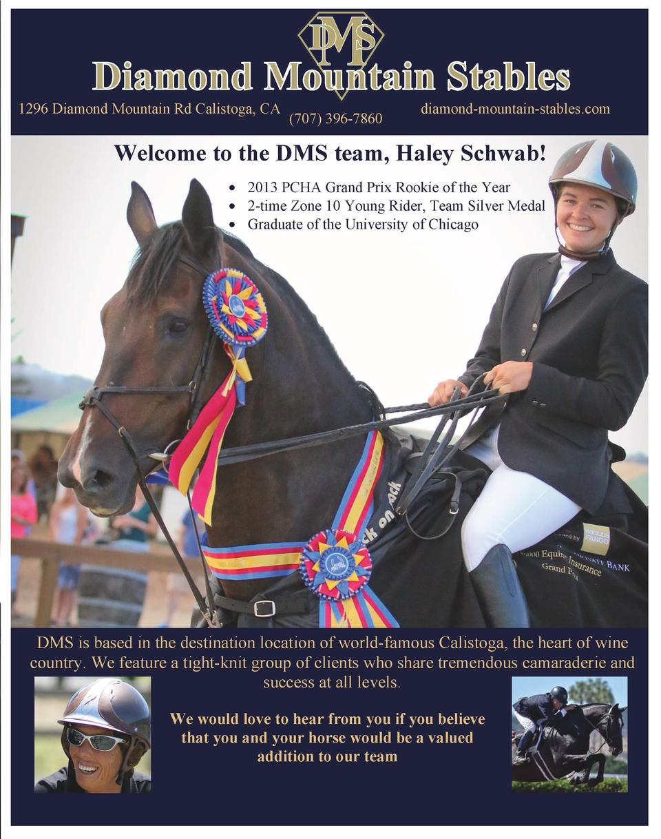 1296 Diamond Mountain Rd Calistoga, CA     707  396-7860  diamond-mountain-stables.com  Welcome to the DMS team, Haley ...