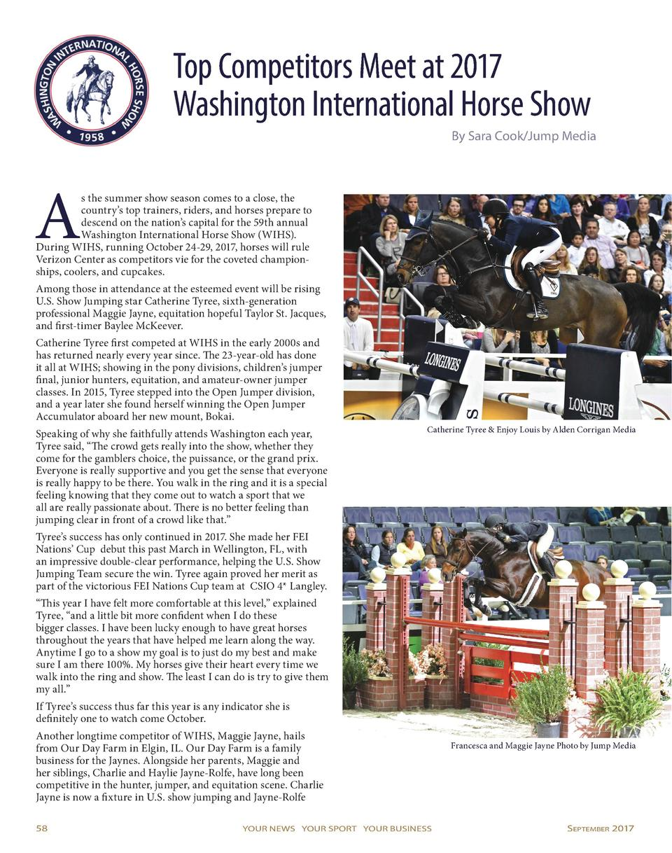 Top Competitors Meet at 2017 Washington International Horse Show By Sara Cook Jump Media  A  s the summer show season come...