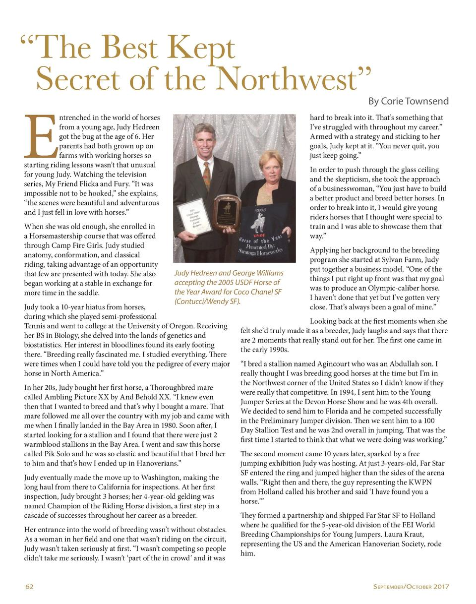 The Best Kept Secret of the Northwest     E  By Corie Townsend  ntrenched in the world of horses from a young age, Judy...
