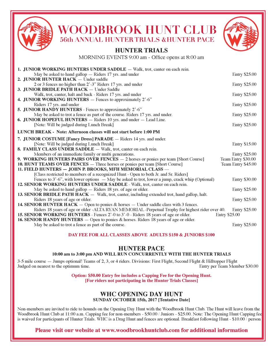 WOODBROOK HUNT CLUB 56th ANNUAL HUNTER TRIALS  HUNTER PACE  HUNTER TRIALS  MORNING EVENTS 9 00 am - Office opens at 8 00 a...