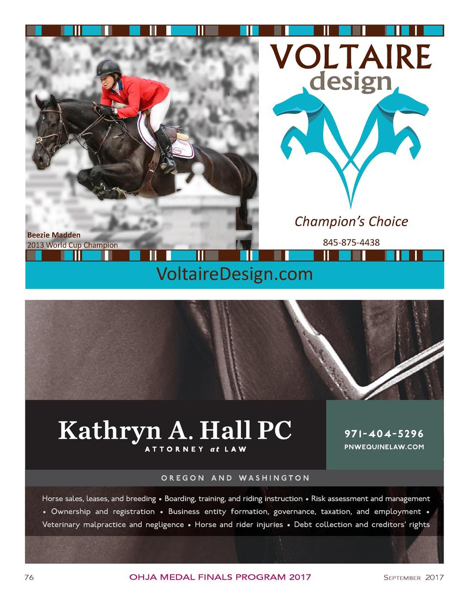 Beezie Madden 2013 World Cup Champion  Champion   s Choice 845-875-4438  VoltaireDesign.com  97 1 - 4 0 4 - 5 29 6 PNWEQUI...