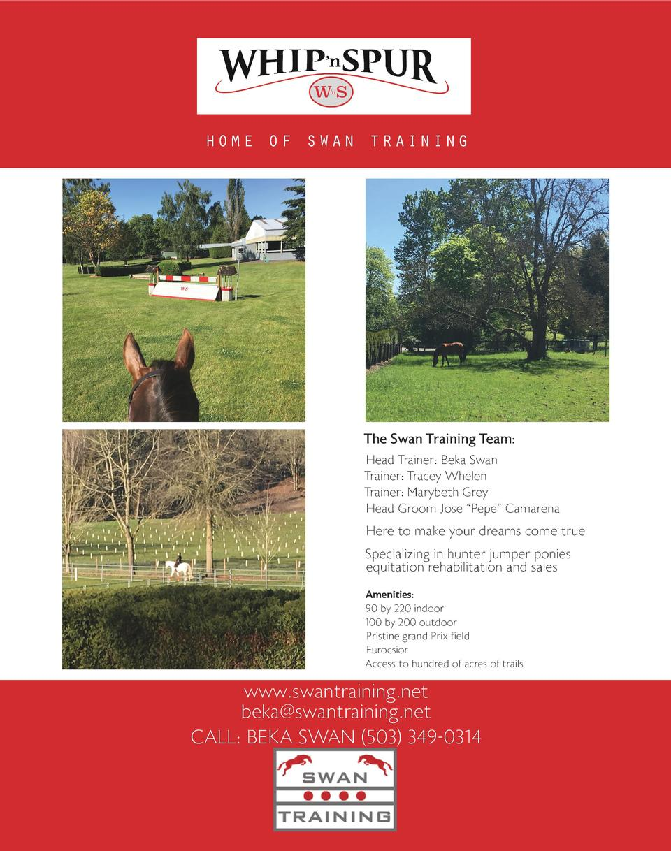 home of swan training  The Swan Training Team  Head Trainer  Beka Swan Trainer  Tracey Whelen Trainer  Marybeth Grey Head ...