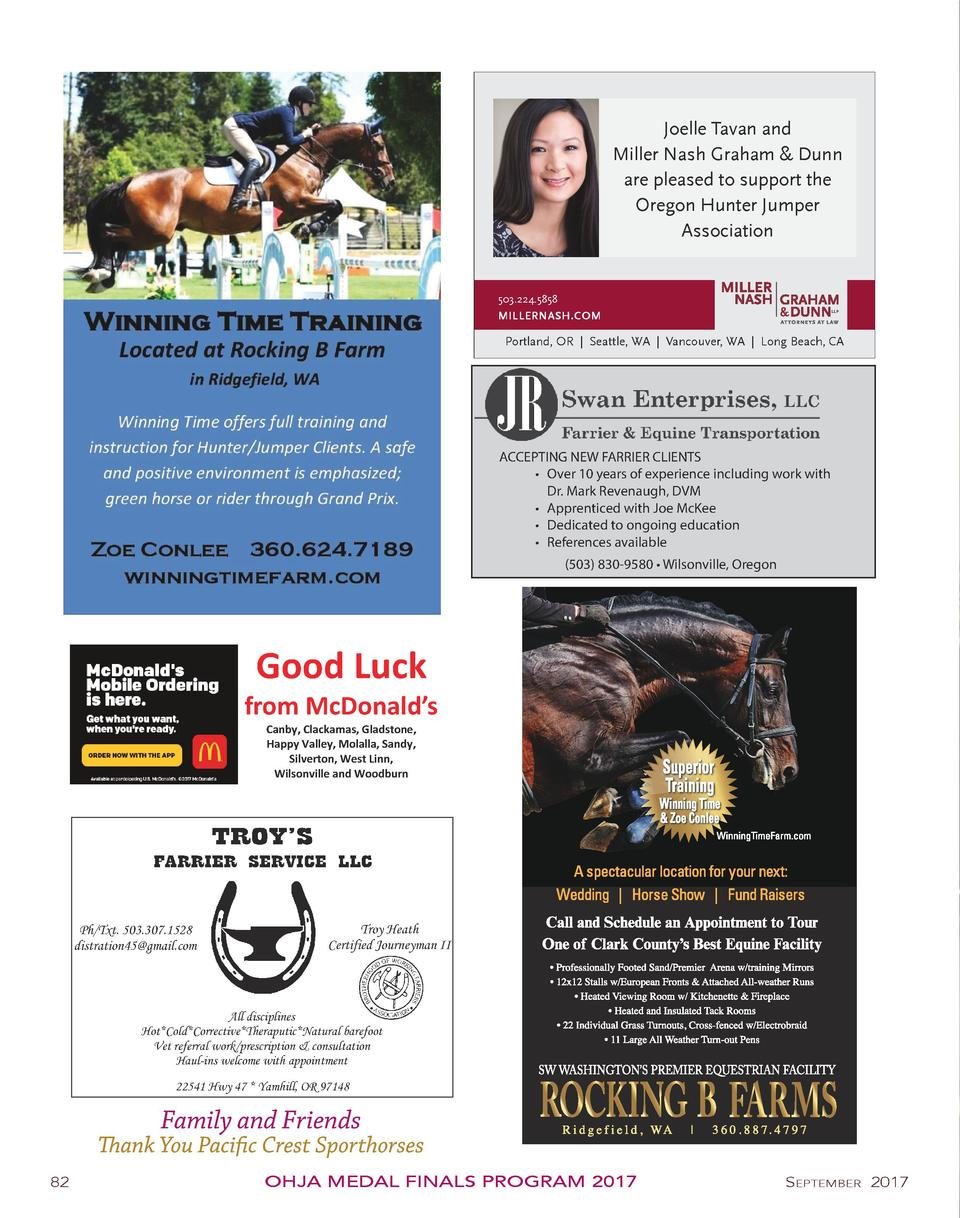 Joelle Tavan and Miller Nash Graham   Dunn are pleased to support the Oregon Hunter Jumper Association  503.224.5858 MILLE...