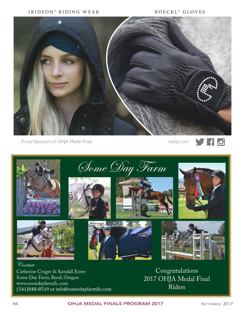 IRIDEON   RIDING WEAR  ROECKL   GLOVES  toklat.com  Proud Sponsors of OHJA Medal Finals  Some Day Farm  Contact   Catherin...