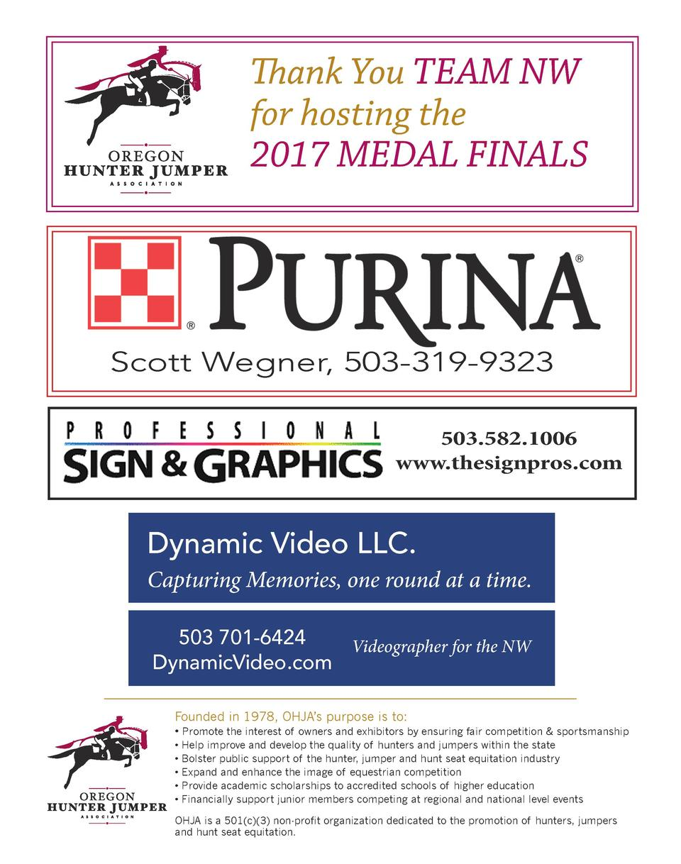 Thank You TEAM NW for hosting the 2017 MEDAL FINALS  Scott Wegner, 503-319-9323 503.582.1006 www.thesignpros.com  Dynamic ...