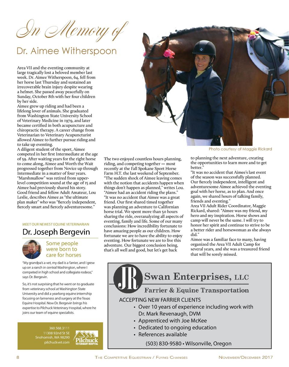 In Memory of Dr. Aimee Witherspoon Area VII and the eventing community at large tragically lost a beloved member last week...