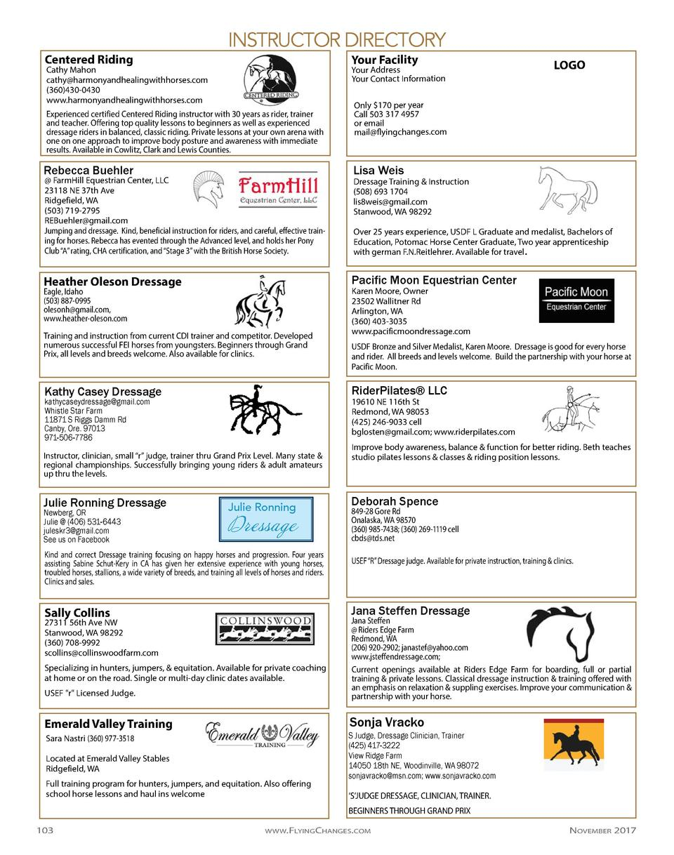 Centered Riding  INSTRUCTOR DIRECTORY Your Facility  Cathy Mahon cathy harmonyandhealingwithhorses.com  360 430-0430 www.h...