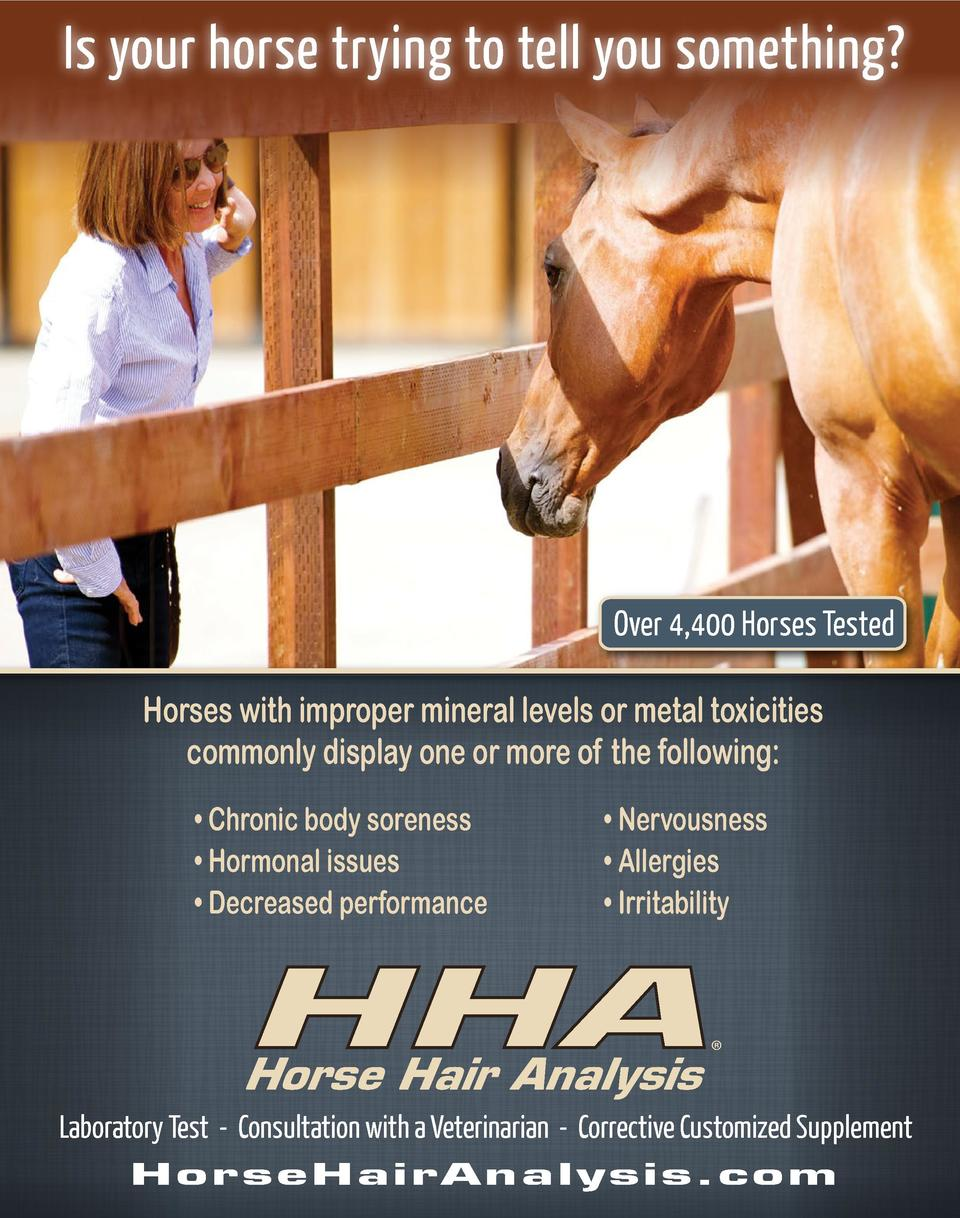 Is your horse trying to tell you something   Over 4,400 Horses Tested Horses with improper mineral levels or metal toxicit...