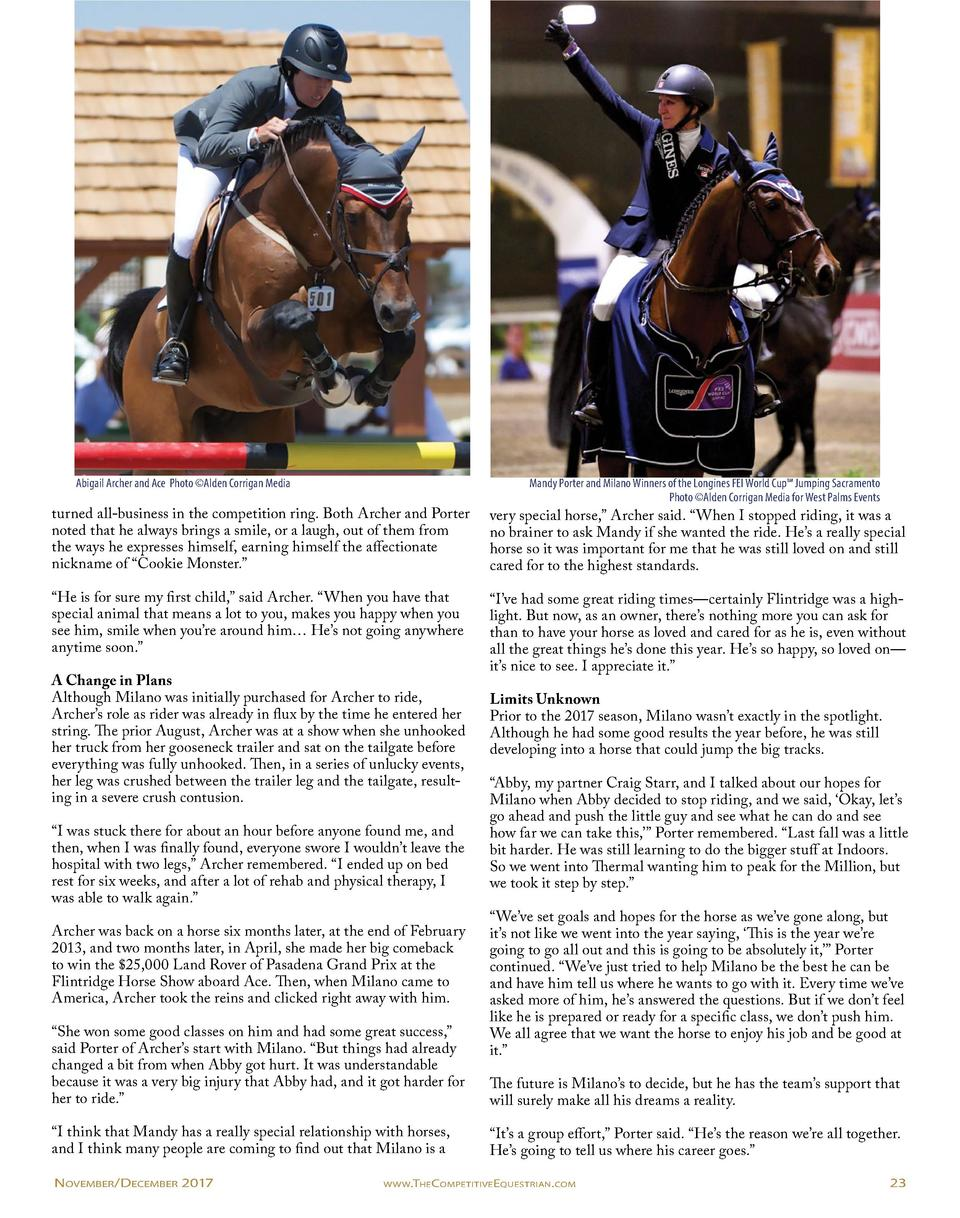 Abigail Archer and Ace Photo   Alden Corrigan Media  Mandy Porter and Milano Winners of the Longines FEI World Cup    Jump...
