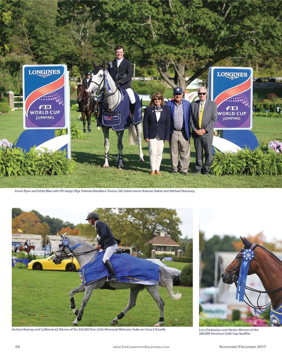Devin Ryan and Eddie Blue with FEI Judge Olga Yolanda Matallana Trivino, Old Salem owner Kamran Hakim and Michael Morrisse...