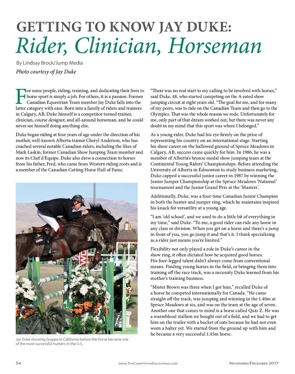 GETTING TO KNOW JAY DUKE   Rider, Clinician, Horseman By Lindsay Brock Jump Media  Photo courtesy of Jay Duke  F  or some ...
