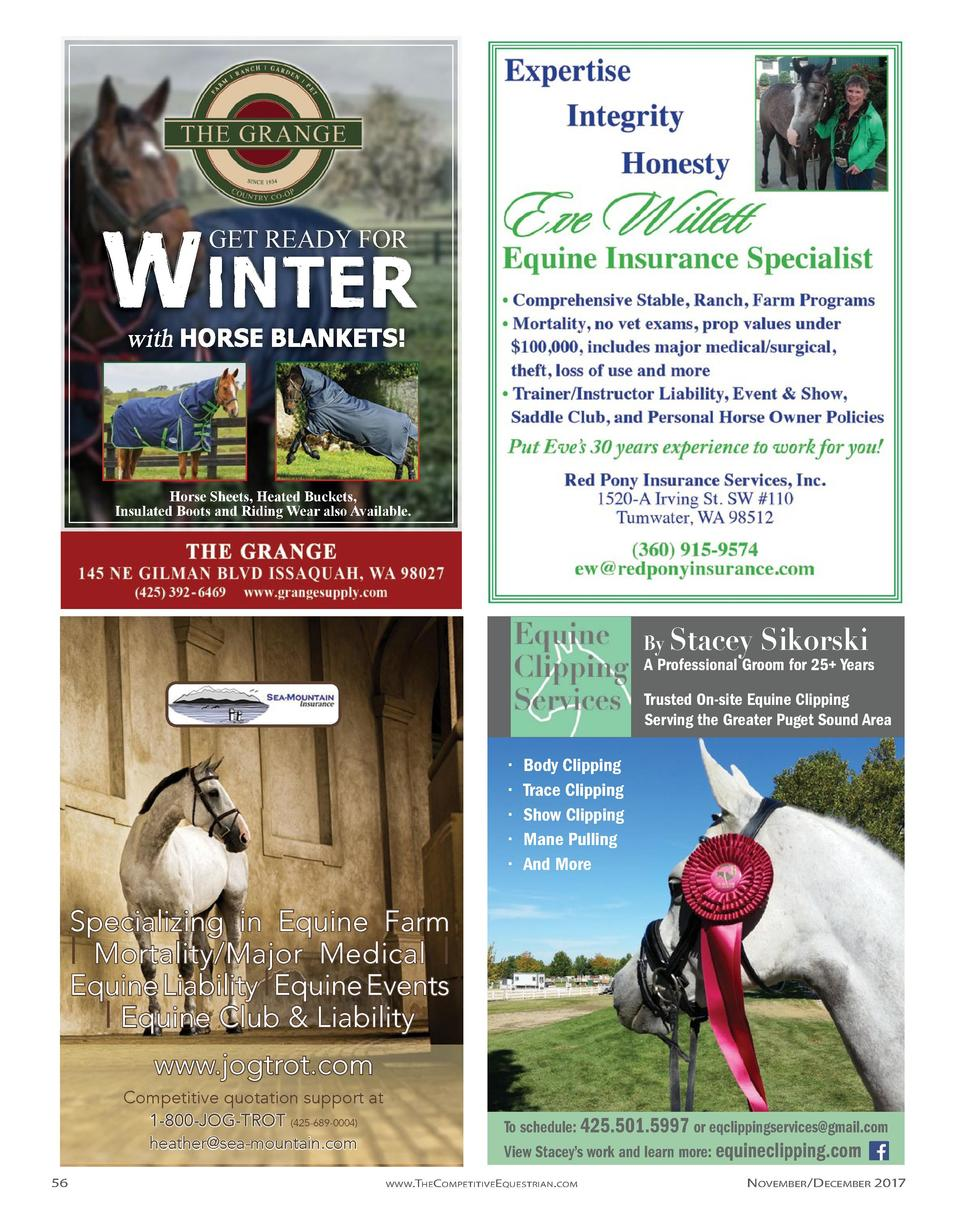 WINTER GET READY FOR  Horse Sheets, Heated Buckets, Insulated Boots and Riding Wear also Available.  By Stacey  Sikorski  ...