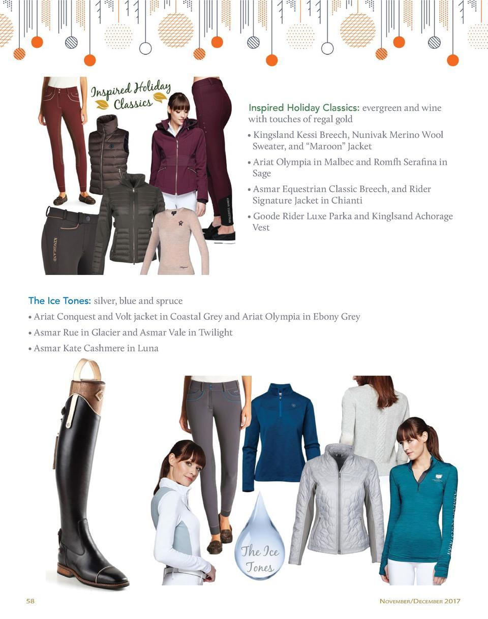 Inspired Holiday Classics  evergreen and wine with touches of regal gold     Kingsland Kessi Breech, Nunivak Merino Wool  ...