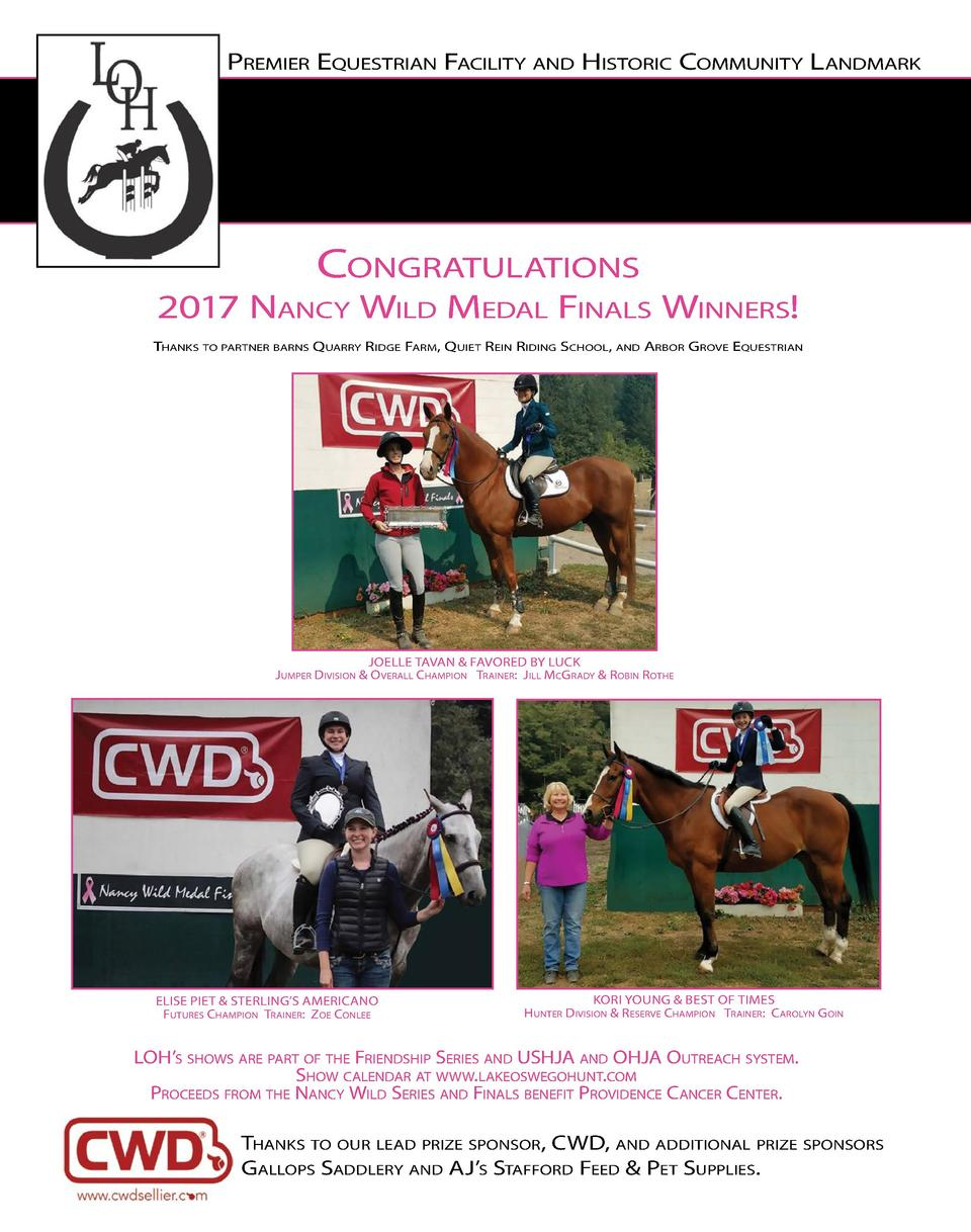 Premier equestrian Facility and Historic community landmark  congratulations  2017 nancy Wild medal Finals Winners  tHanks...