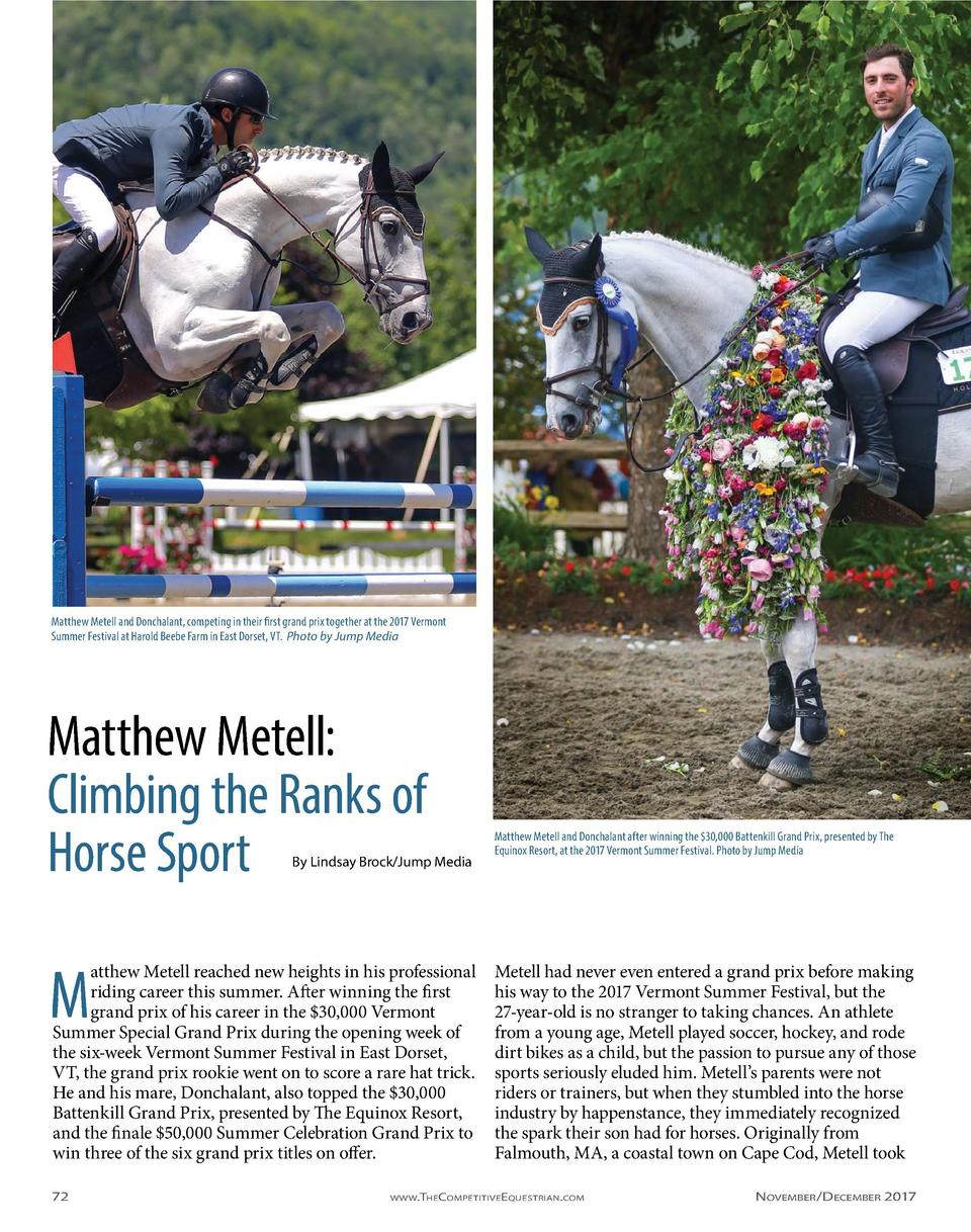 Matthew Metell and Donchalant, competing in their first grand prix together at the 2017 Vermont Summer Festival at Harold ...