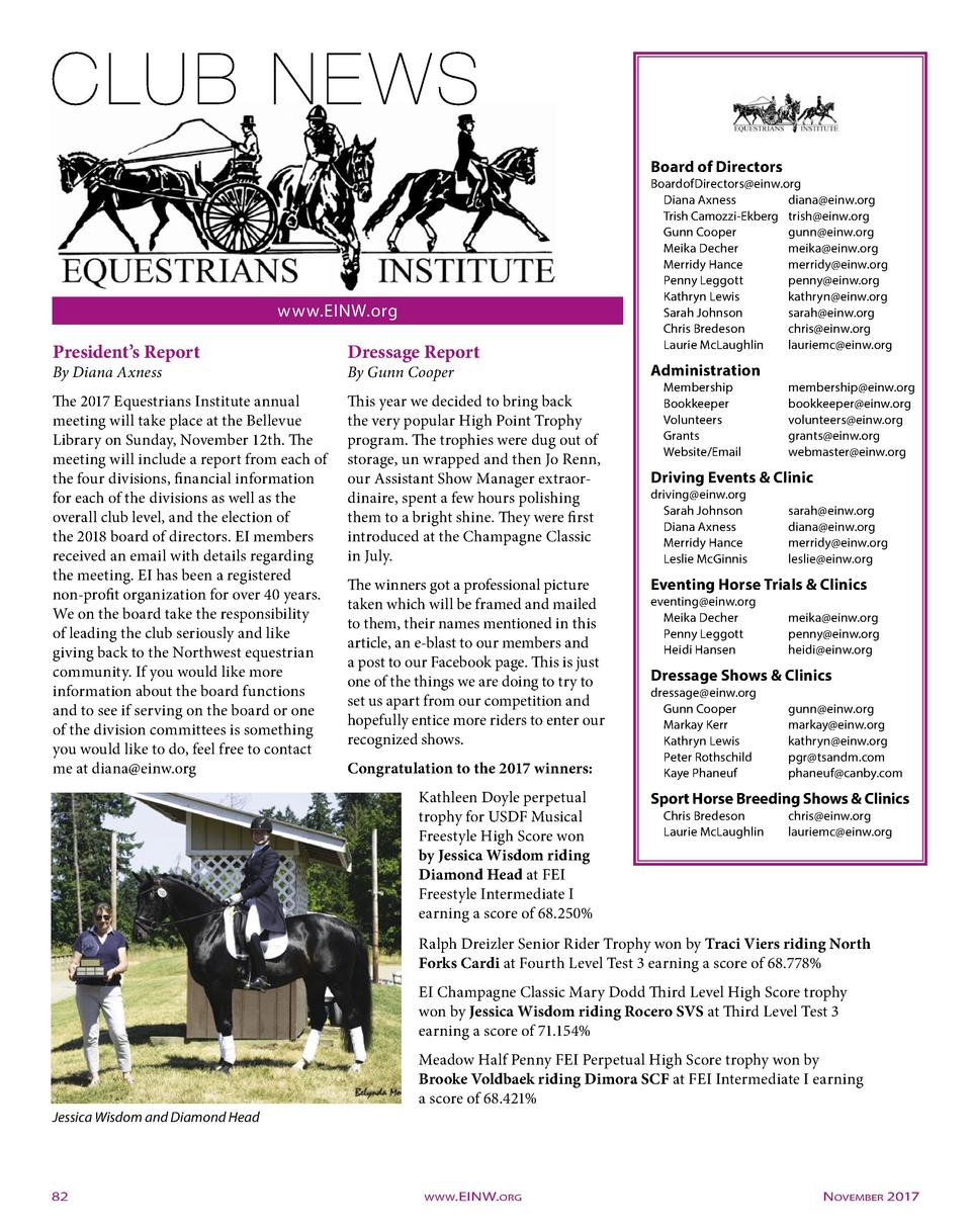 Board of Directors  www.EINW.org  President   s Report  Dressage Report  The 2017 Equestrians Institute annual meeting wil...