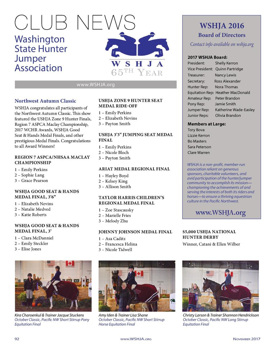 WSHJA 2016  Board of Directors  Washington State Hunter Jumper Association  Contact info available on wshja.org 2017 WSHJA...