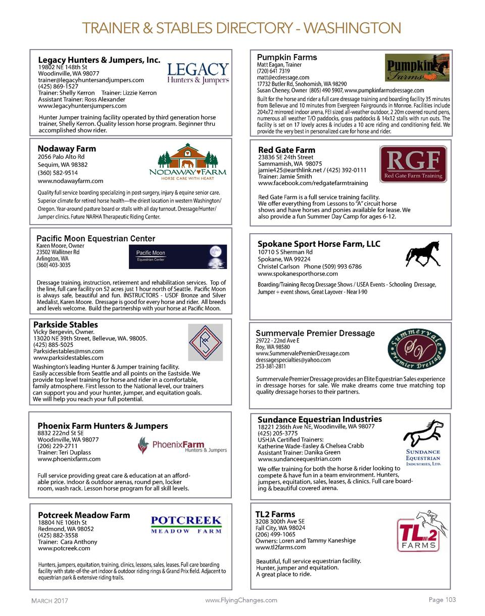 TRAINER   STABLES DIRECTORY - WASHINGTON Pumpkin Farms  Legacy Hunters   Jumpers, Inc.  Hunter Jumper training facility op...