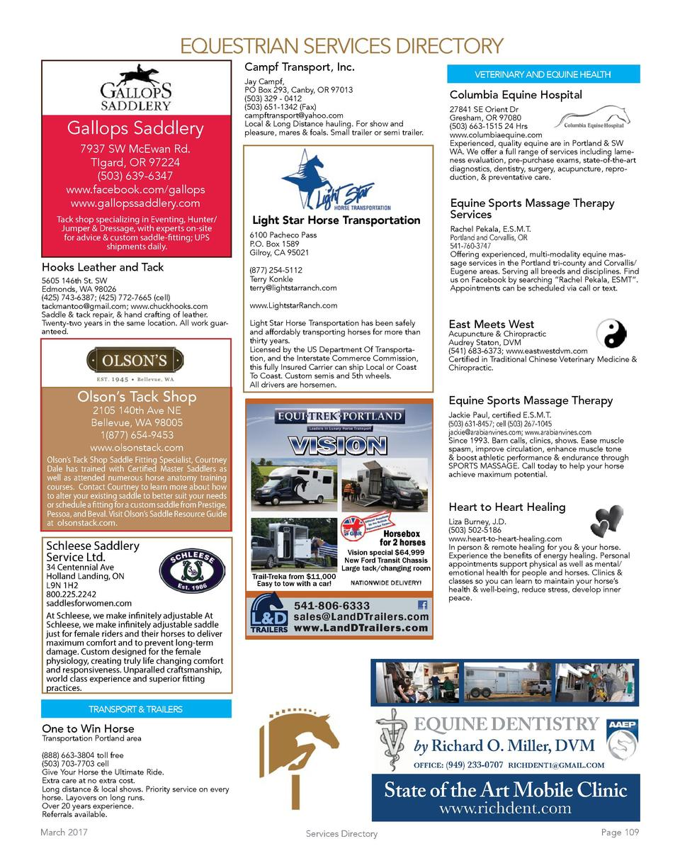 EQUESTRIAN SERVICES DIRECTORY Campf Transport, Inc.  Gallops Saddlery  VETERINARY AND EQUINE HEALTH  Jay Campf, PO Box 293...