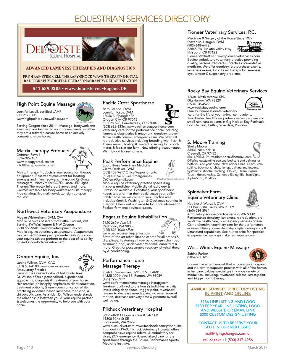 EQUESTRIAN SERVICES DIRECTORY Pioneer Veterinary Services, P.C.    ADVANCED LAMENESS THERAPIES AND DIAGNOSTICS  PRP    IRA...