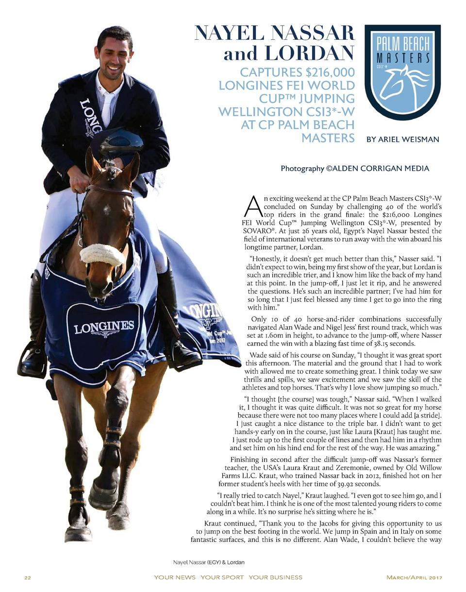 NAYEL NASSAR and LORDAN  CAPTURES  216,000 LONGINES FEI WORLD CUP    JUMPING WELLINGTON CSI3 -W AT CP PALM BEACH MASTERS  ...