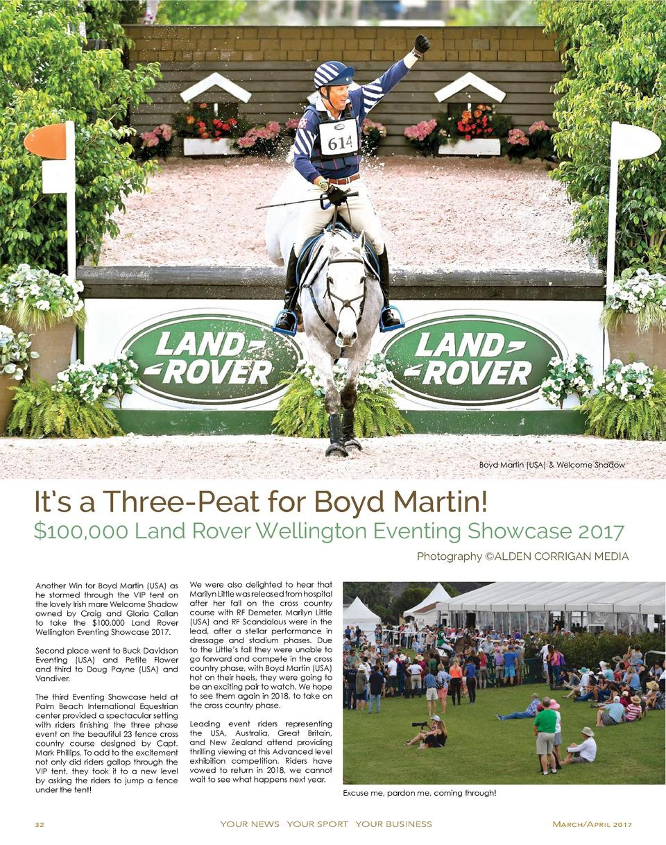 Boyd Martin  USA    Welcome Shadow  It   s a Three-Peat for Boyd Martin    100,000 Land Rover Wellington Eventing Showcase...