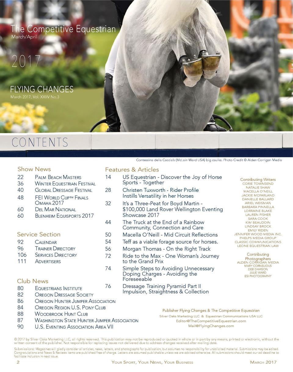 The Competitive Equestrian March April  2017 FLYING CHANGES March 2017, Vol. XXIIV No.3  CONTENTS Contessina della Caccia ...