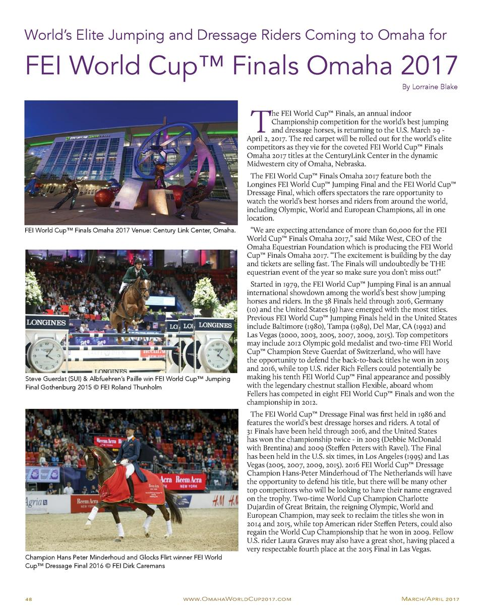 World   s Elite Jumping and Dressage Riders Coming to Omaha for  FEI World Cup    Finals Omaha 2017 By Lorraine Blake  T  ...