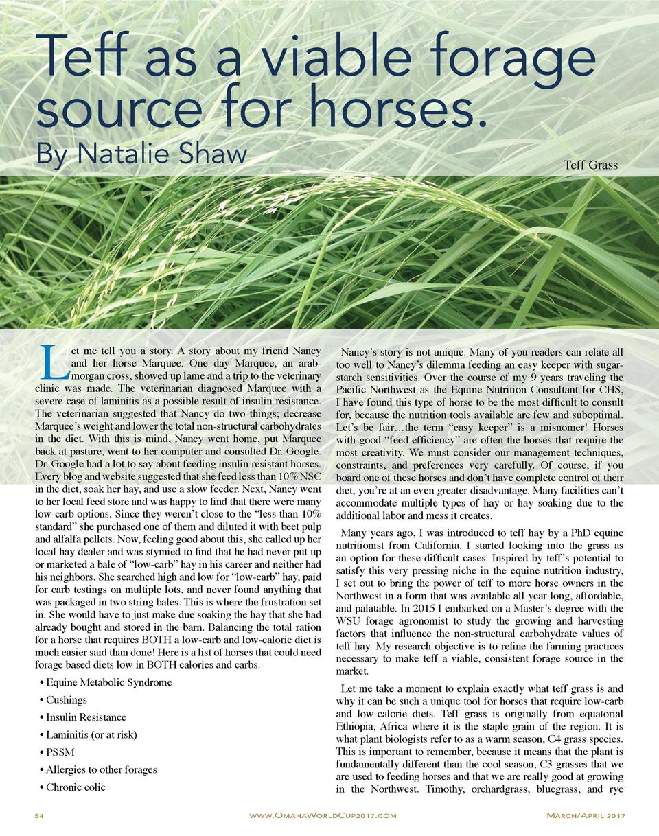 Teff as a viable forage source for horses. By Natalie Shaw  L  Teff Grass  et me tell you a story. A story about my friend...