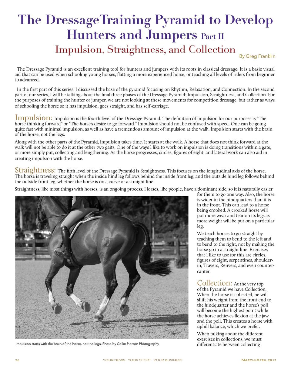 The DressageTraining Pyramid to Develop Hunters and Jumpers Part II Impulsion, Straightness, and Collection  By Greg Frank...