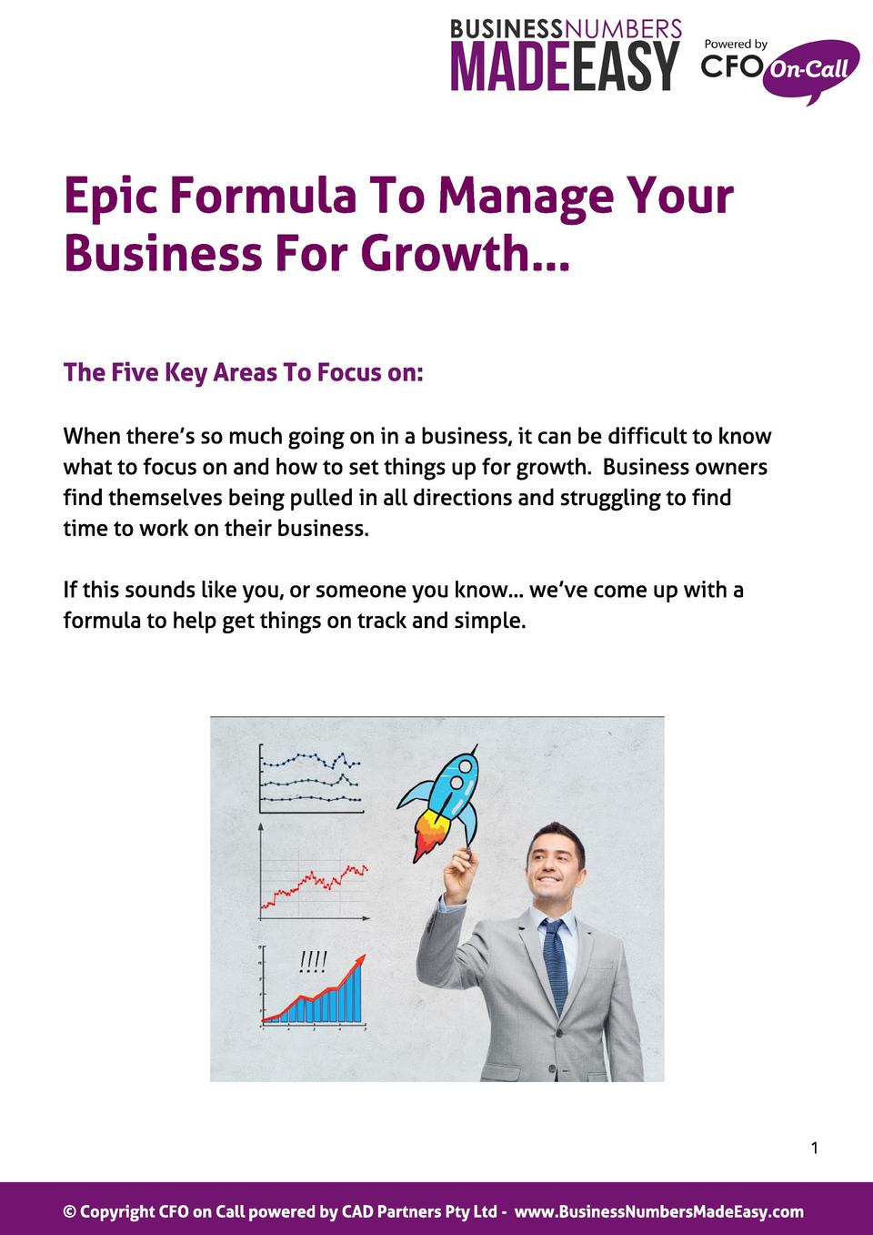 Epic Formul a To Manage Your Business For Growt h  The Five Key Areas To Focus on  When there s so much going on in a busi...