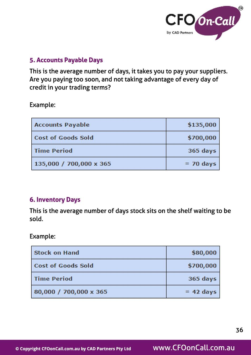 5. Account s Payabl e Days This is the average number of days, it takes you to pay your suppliers. Are you paying too soon...