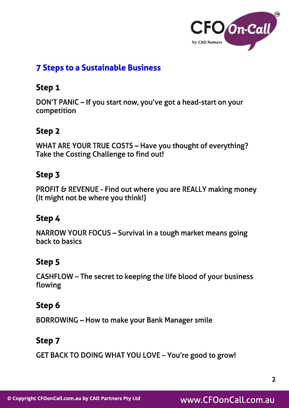 7 St eps t o a Sust ainabl e Business St ep 1 DON T PANIC   If you start now, you ve got a head-start on your competition ...