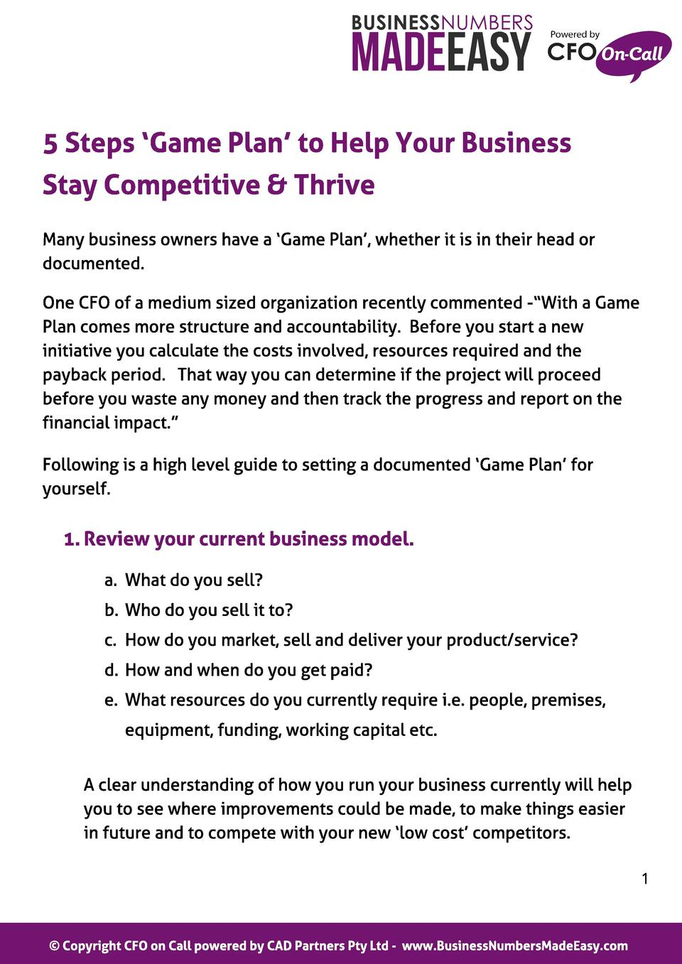 5 St eps  Game Pl an t o Hel p Your Business St ay Compet it ive   Thrive Many business owners have a  Game Plan , whether...