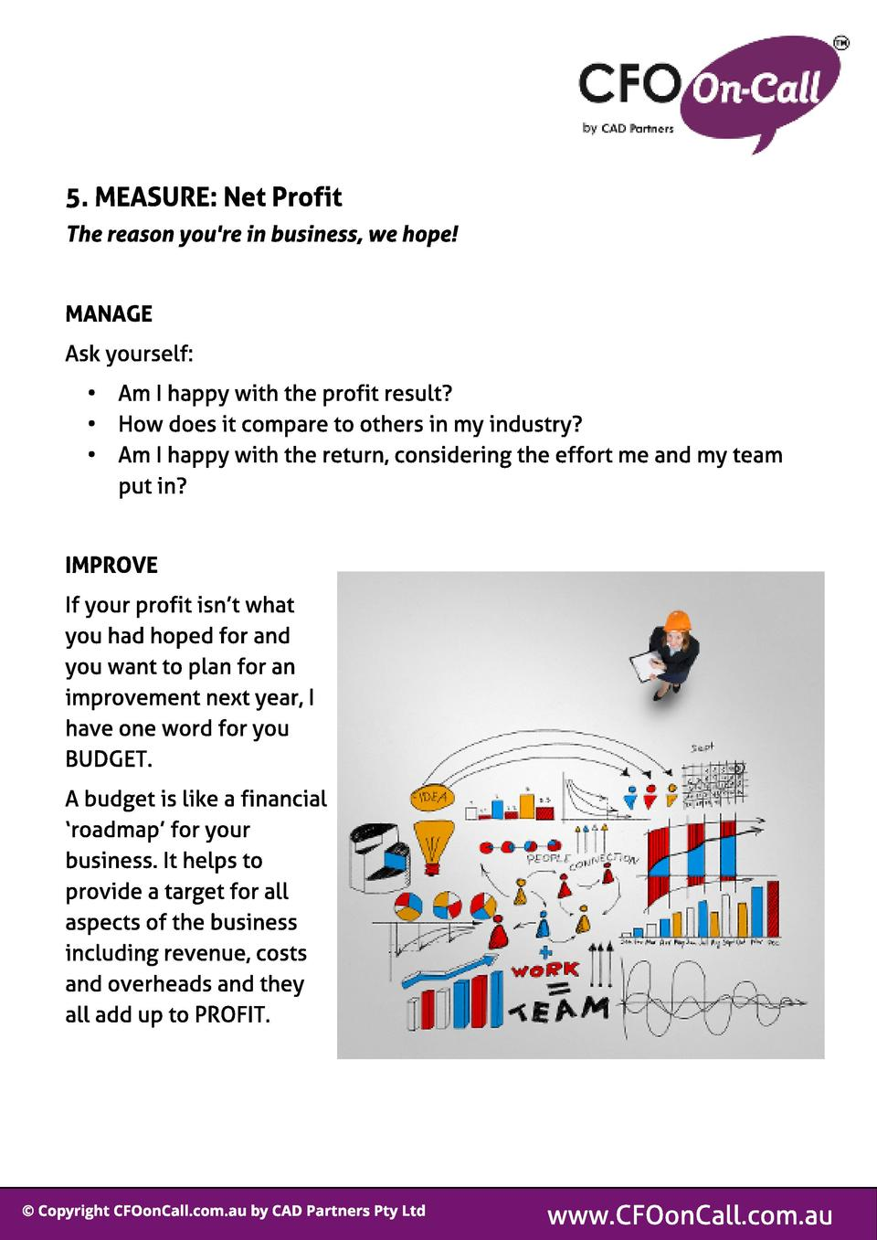 5. MEASURE  Net Prof it The reason you re in business, we hope   MANAGE Ask yourself  -  Am I happy with the profit result...