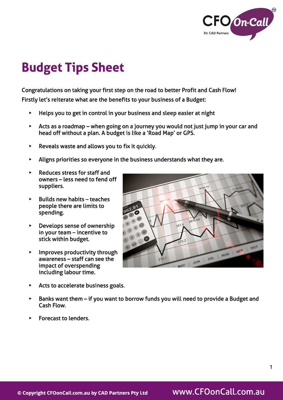 Budget Tips Sheet Congratulations on taking your first step on the road to better Profit and Cash Flow  Firstly let s reit...