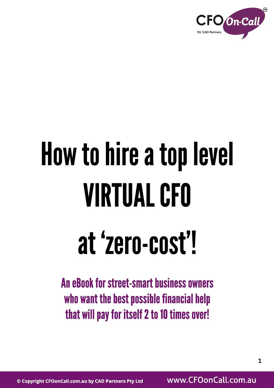Howtohireatoplevel VIRTUALCFO at  zero-cost   AneBookfor street-smart businessowners whowant thebest possiblefinancial hel...