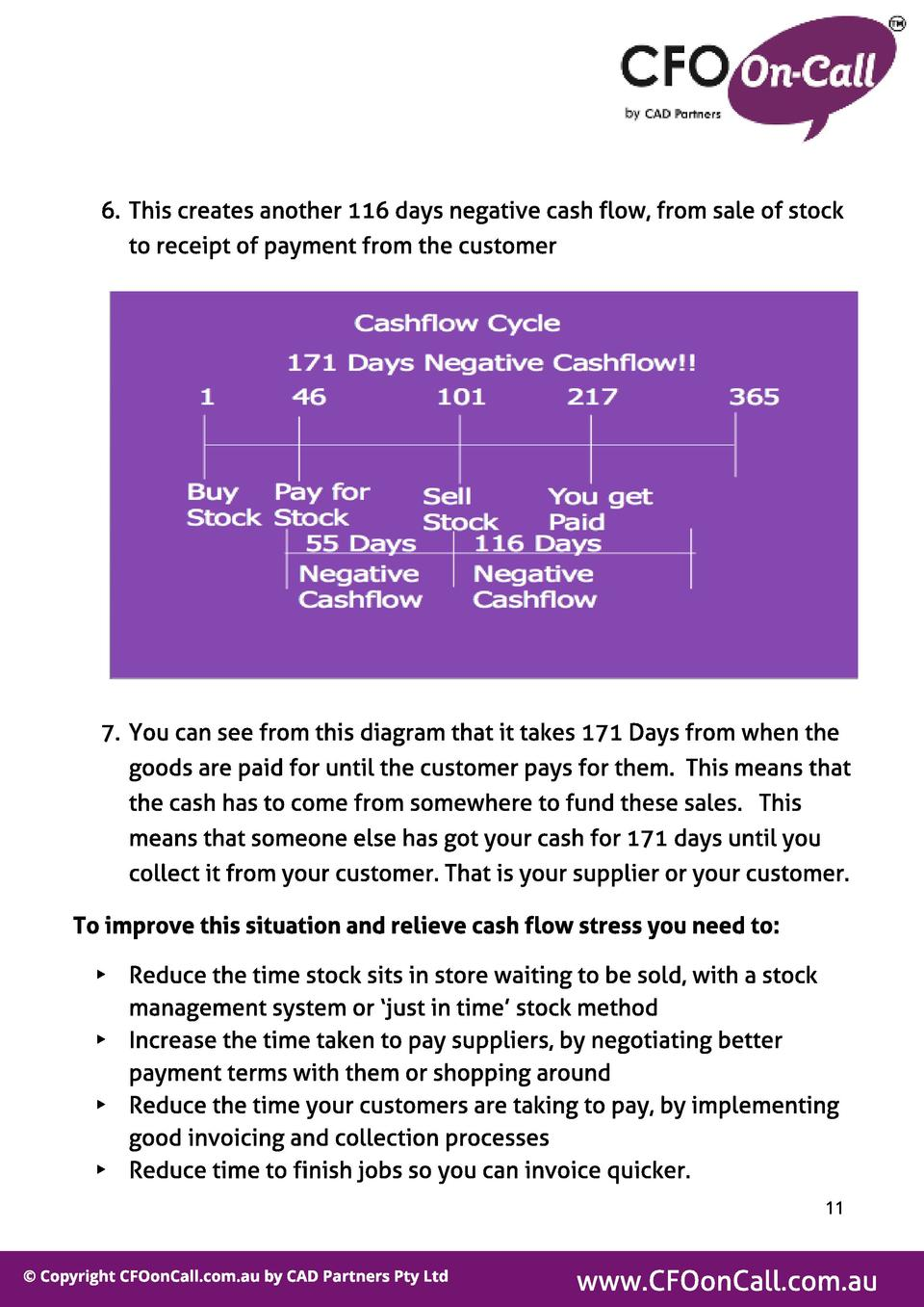 6. This creates another 116 days negative cash flow, from sale of stock to receipt of payment from the customer  7. You ca...